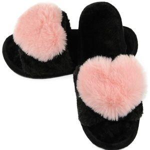 Shoes - Fuzzy Fluffy Furry Fur Slipper Flip Flop Open Toe